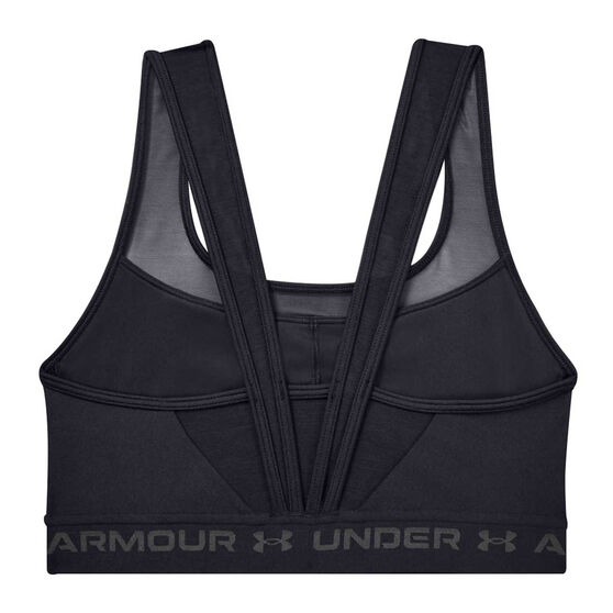 Under Armour Womens Mid Crossback Sports Bra, Black, rebel_hi-res