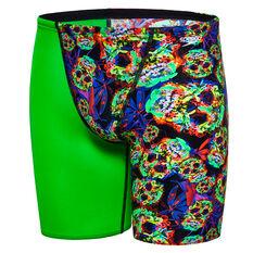 Speedo Boys Psych Fusion Jammer Swim Shorts Green / Black 8, Green / Black, rebel_hi-res