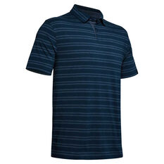 Under Armour Charged Cotton Striped Polo, Navy, rebel_hi-res