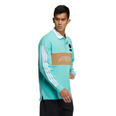 adidas Mens Long Sleeve Graphic Polo, Blue, rebel_hi-res