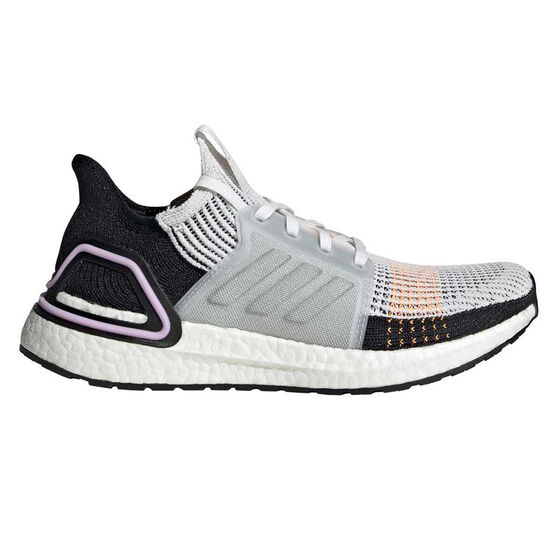 adidas Ultraboost 19 Womens Running Shoes, White / Black, rebel_hi-res