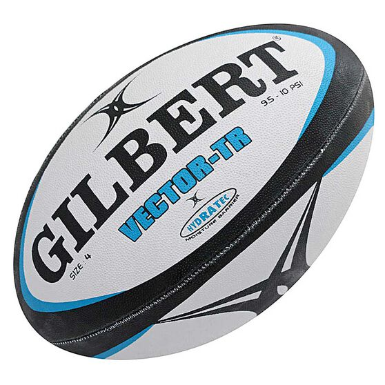 Gilbert Vector Training Rugby Ball, White / Black, rebel_hi-res