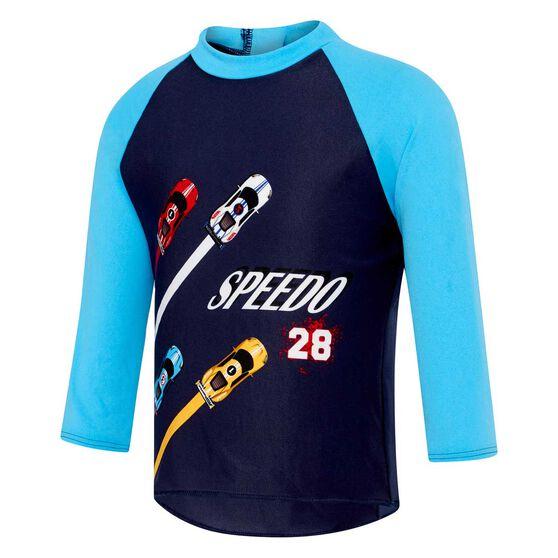 Speedo Toddler Sports Car Long Sleeve Rash Vest, Print, rebel_hi-res