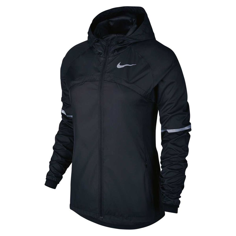 Nike Womens Shield Hooded Jacket Black   Silver S Adult  3775f08f9