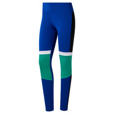 Reebok Womens Meet You There Panelled Tights Blue / Green XS, Blue / Green, rebel_hi-res