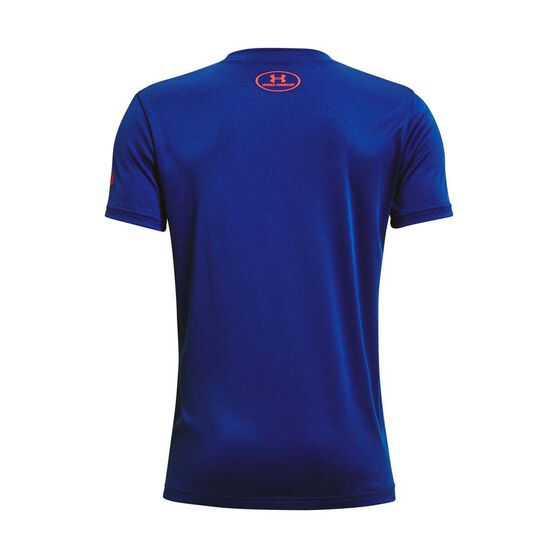 Under Armour Boys Project Rock Brahma Bull Tee Blue/Red XS XS, Blue/Red, rebel_hi-res