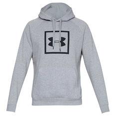 Under Armour Mens Rival Fleece Logo Hoodie Grey / Black XS, Grey / Black, rebel_hi-res