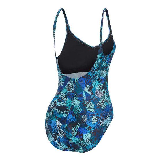 Speedo Womens Leisure V Neck Swimsuit, Blue, rebel_hi-res