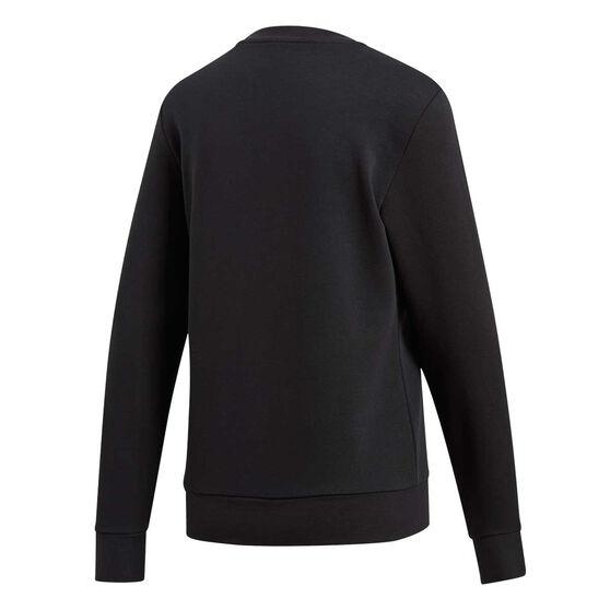 adidas Womens Essentials Linear Crewneck Sweatshirt, Black / White, rebel_hi-res