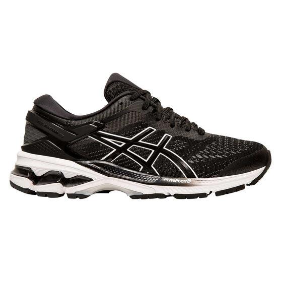 Asics GEL Kayano 26 D Womens Running Shoes Black / White US 7.5, Black / White, rebel_hi-res