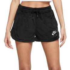 Nike Air Womens Velour Mid-Rise Shorts Black XS, Black, rebel_hi-res