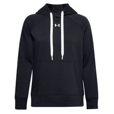 Under Armour Womens Rival Fleece HB Hoodie Black XS, Black, rebel_hi-res
