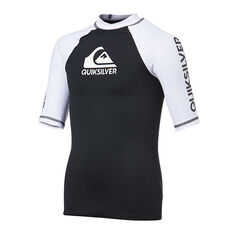 Quiksilver Boys On Tour Short Sleeve Rashie Black / White 8, Black / White, rebel_hi-res