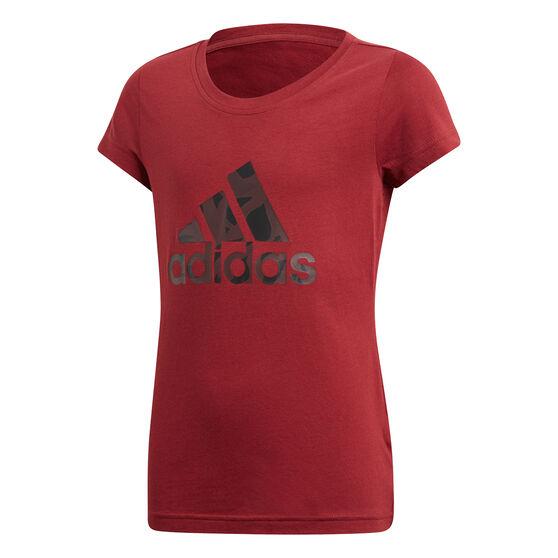 adidas Girls Essentials Logo Tee, Maroon, rebel_hi-res