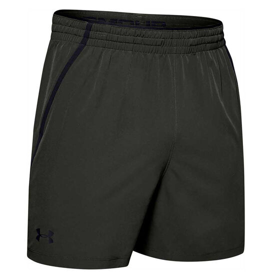 Under Armour Mens Qualifier 5in Woven Training Shorts, Green, rebel_hi-res