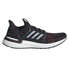 adidas Ultraboost 19 Mens Running Shoes Black / Blue US 9.5, Black / Blue, rebel_hi-res