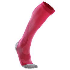2XU Womens Performance Run Compression Socks Neon Pink XS Adult, Neon Pink, rebel_hi-res