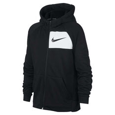 Nike Boys DriFIT Full Zip Hoodie Black / White XS, Black / White, rebel_hi-res