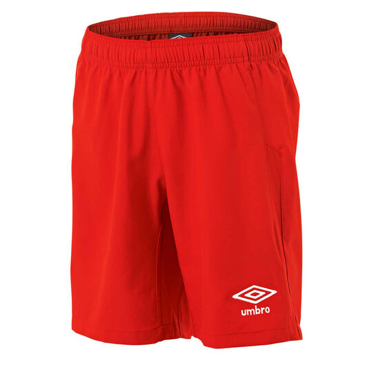 Umbro Kids Junior League Knit Shorts, Red, rebel_hi-res
