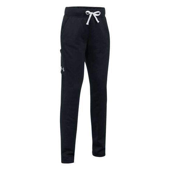 Under Armour Girls Armour Fleece Pants, Black, rebel_hi-res