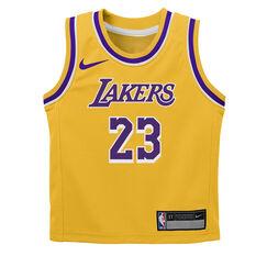 Nike Los Angeles Lakers LeBron James Icon 2019 Infants Swingman Jersey Yellow 2, Yellow, rebel_hi-res