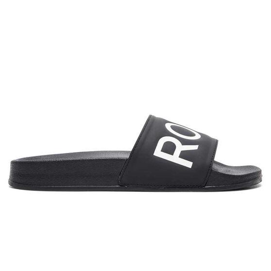 Roxy Slippy II Womens Slides, Black/White, rebel_hi-res
