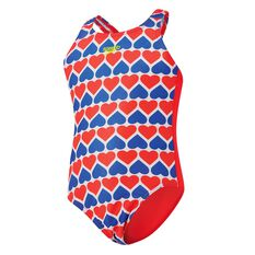 Speedo Toddler Girls Medalist Swimsuit Red / Blue 2 Toddler, Red / Blue, rebel_hi-res