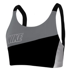 Nike Womens Swoosh Medium Support Metallic Sports Bra Grey XS, Grey, rebel_hi-res