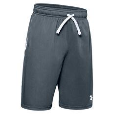 Under Armour Boys Prototype Wordmark Shorts Grey / White XS, Grey / White, rebel_hi-res