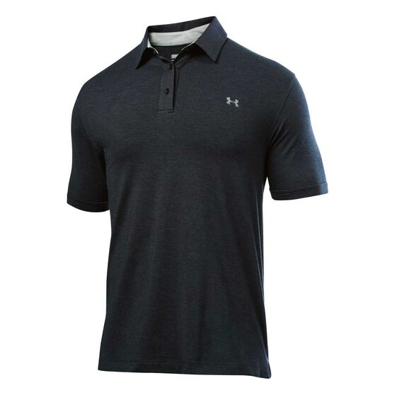 Under Armour Mens Charged Cotton Scramble Polo Shirt Black / Black S, Black / Black, rebel_hi-res