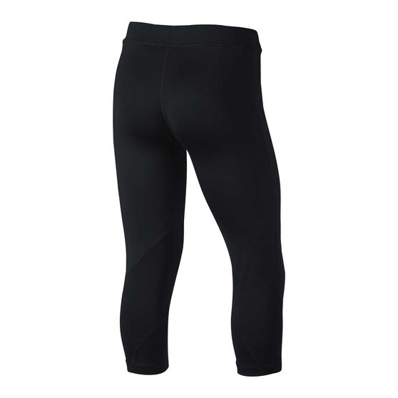 Nike Girls Pro Capri Tights, Black / White, rebel_hi-res