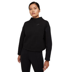 Nike Womens Sportswear Tech Fleece Crew Sweater Black XS, Black, rebel_hi-res