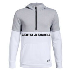 Under Armour Boys Double Knit Half Zip Hoodie White / Black XS, , rebel_hi-res