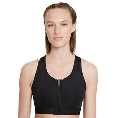 Nike Womens Dri-FIT Swoosh Zip Front Sports Bra, Black, rebel_hi-res