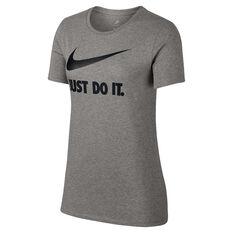 Nike Womens Just Do It Swoosh Tee Dark Grey XS, Dark Grey, rebel_hi-res