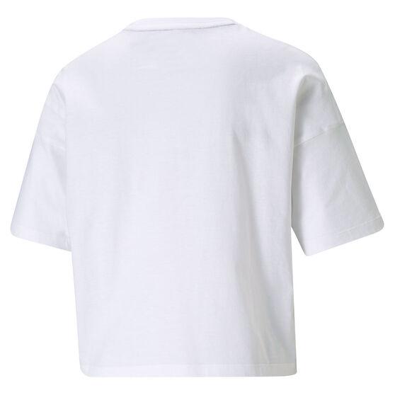 Puma Womens Essentials Cropped Logo Tee, White, rebel_hi-res
