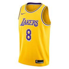 Nike Los Angeles Lakers Kobe Bryant 2019 Mens Road Swingman Jersey Yellow S, Yellow, rebel_hi-res