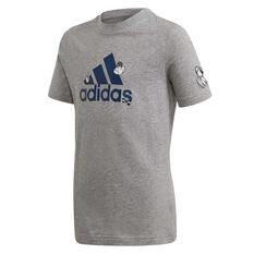 adidas Boys Collegiate Tee Grey 8, Grey, rebel_hi-res