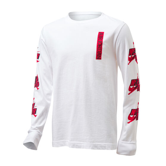 Nike Boys Jordan Jumpman Classics Long Sleeve Tee, White/Red, rebel_hi-res