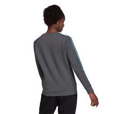 adidas Womens Essentials Fleece 3-Stripes Sweatshirt Grey XS, Grey, rebel_hi-res