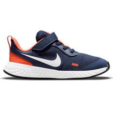 Nike Revolution 5 Kids Running Shoes Navy/White US 11, Navy/White, rebel_hi-res