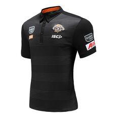 Wests Tigers 2020 Mens Performance Polo Black S, Black, rebel_hi-res