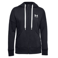 Under Armour Womens Rival Fleece Full Zip Hoodie Black XS, Black, rebel_hi-res