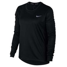 4e7c62ab Nike Womens Miler Running Top Black XS, Black, rebel_hi-res ...