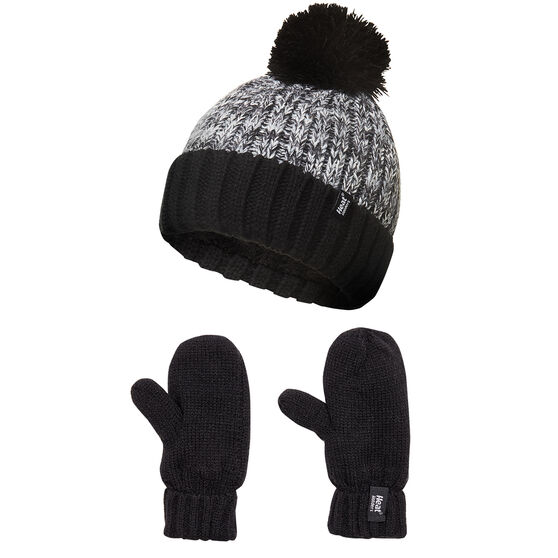 Heat Holders Kids Roll Up Pom Pom Beanie and Ski Mittens Set, , rebel_hi-res
