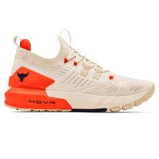 Under Armour Project Rock 3 Mens Training Shoes White/Orange US 8, White/Orange, rebel_hi-res