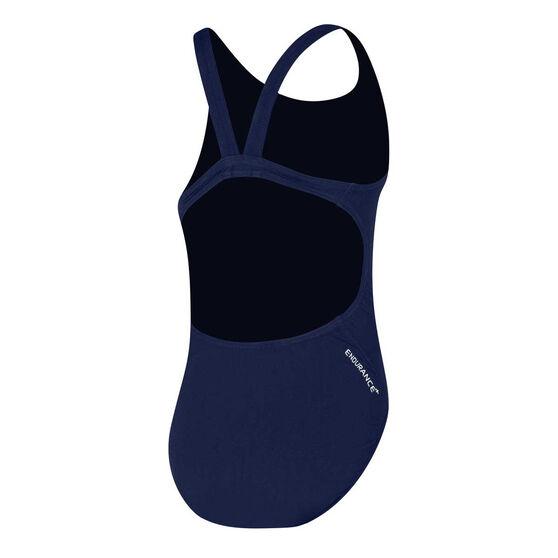 Speedo Girls Endurance Leaderback Swimsuit, Navy, rebel_hi-res