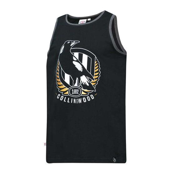Collingwood Magpies Mens Supporter Logo Tank Black M, Black, rebel_hi-res