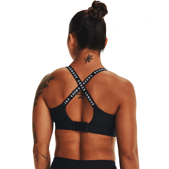 Under Armour Womens Infinity Mid Covered Sports Bra, Black, rebel_hi-res