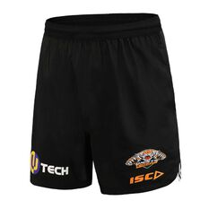 Wests Tigers 2020 Mens Training Shorts Black S, Black, rebel_hi-res